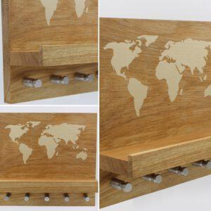 Schlüsselboard Weltkarte Eiche