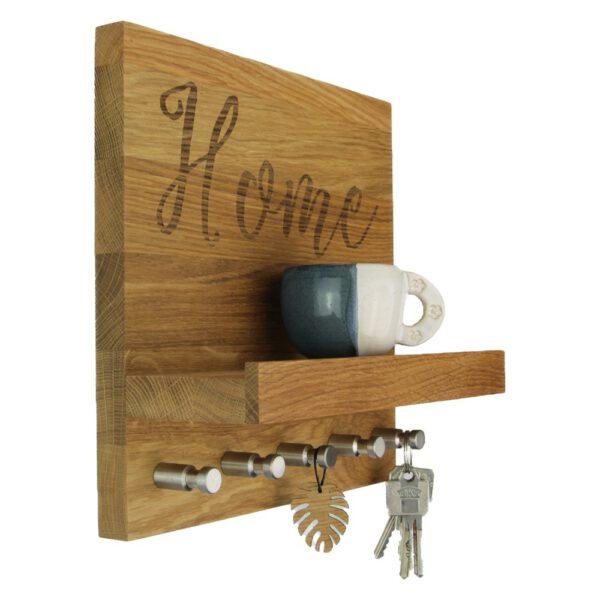 Schlüsselbrett Eiche Home mit eingravierten Koordinaten