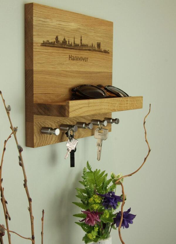 Schlüsselboard mit Skyline gravur