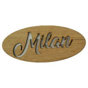ovales Holzschild oder Namensschild
